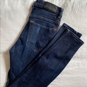 All Saints high waisted indigo blue skinny jeans